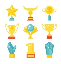 Trophy and awards icons set flat vector image
