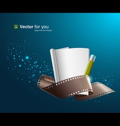 white paper note and film roll vector image vector image