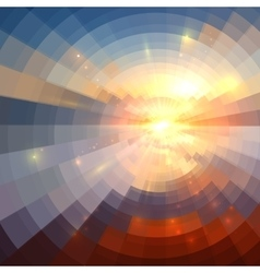 Abstract sunset light round technology mosaic vector image vector image