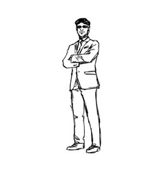 businessman standing with glasses crossing arm vector image
