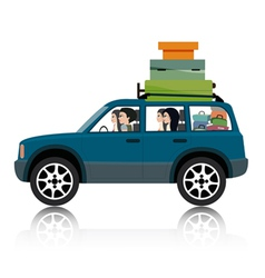Car suv luggage vector image