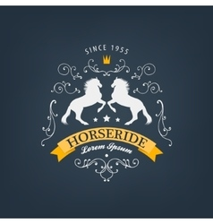 horses logo emblem Vintage style with vector image vector image