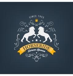 Horses logo emblem vintage style with vector