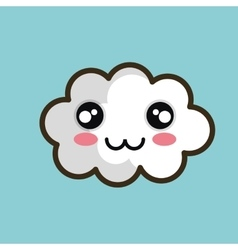 kawaii cloud happy design vector image