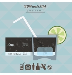 Rum and cola cocktail flat style vector image