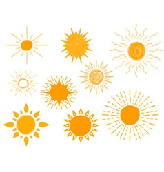 Set of Different Hand Drawn Suns vector image