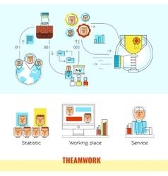 Teamwork Line Banner Set vector image vector image