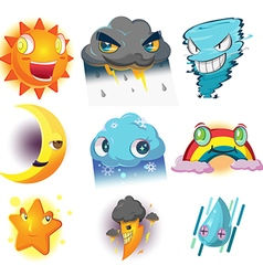 Weather Character Cartoon Emotion Set vector image vector image