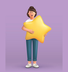 3d cartoon character young woman holding vector