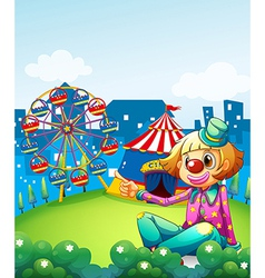 A female clown pointing the carnival vector image
