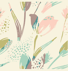 Abstract floral seamless pattern tulips trendy vector