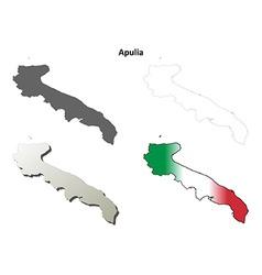 Apulia blank detailed outline map set vector