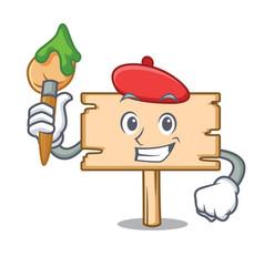 Artist wooden board character cartoon vector