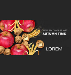 autumn time banner with apples and walnuts vector image