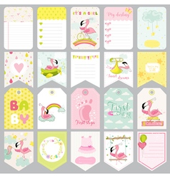 Baby flamingo tags banners scrapbook labels vector