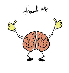 Brain character giving a thumb up vector