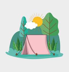 Camping tent in park vector