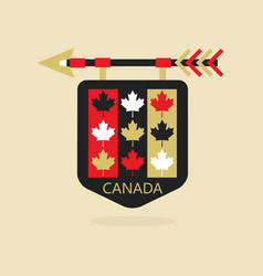 Canada medieval emblem icon with maple leaf flag vector