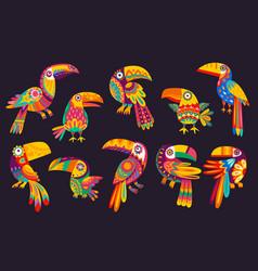 cartoon mexican toucan birds traditional animals vector image