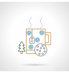 Christmas drink flat color line icon vector