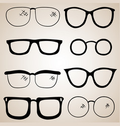 Collection of eye antique and modern eye glasses vector