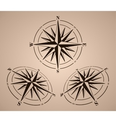 Compass roses set vector