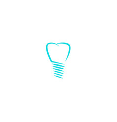 Dental implant logo tooth silhouette linear vector