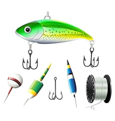 Different kind of fishing equipments vector image
