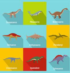 dinosaur icons set flat style vector image