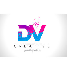 Dv d v letter logo with shattered broken blue vector