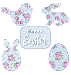 easter set easter bird bunny egg with roses vector image