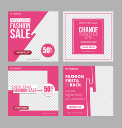 editable instagram fashion banner ad template vector image