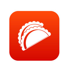 Empanadas de pollo icon digital red vector
