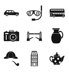English atmosphere icons set simple style vector