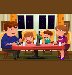 family eating together vector image