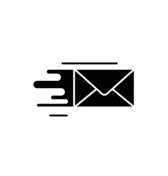 fast delivery black icon sign on isolated vector image