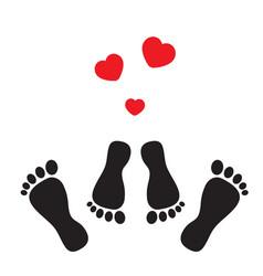 Feet and hearts vector