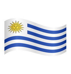 Flag of uruguay waving on white background vector