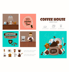 flat coffee shop infographic concept vector image