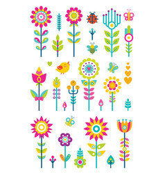 flowers set bird and butterfly vector image