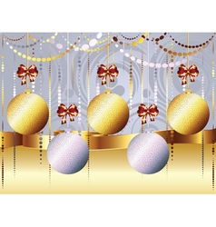 Gold and White Xmas Balls3 vector
