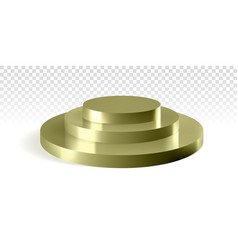 golden podium three round steps 3d mockup vector image