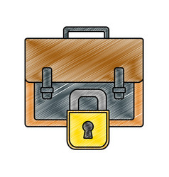 Grated business briefcase object with padlock vector