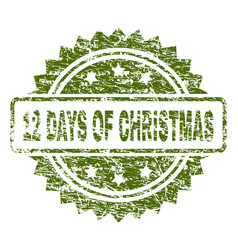 Grunge textured 12 days of christmas stamp seal vector