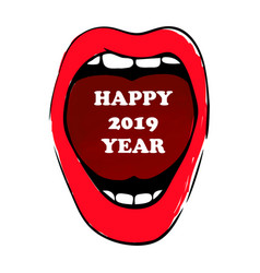 happy 2019 year woman red lips hand drawn vector image
