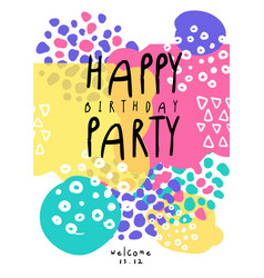 Happy birthday party cute colorful template with vector