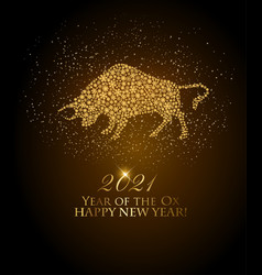 Happy new year 2021 background year ox vector