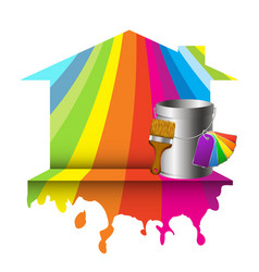 house and bucket with color paint vector image