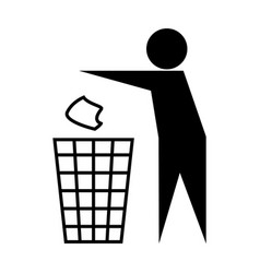 Icon throw in trash isolated on white vector