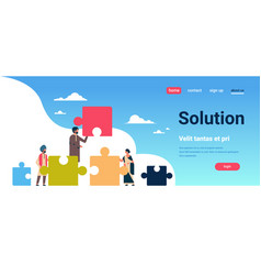 indian people putting parts of puzzle problems vector image